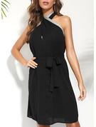 Solid Sheath Sleeveless Midi Party Elegant Dresses