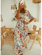 Floral Impresión Vestido línea A Manga Corta Maxi Elegante Patinador Vestidos de moda