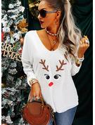 Animalske Udskriv V-hals Lange ærmer Casual Jul T-shirt