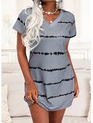Print Skiftekjoler Korte ærmer Mini Casual T-shirt Mode kjoler