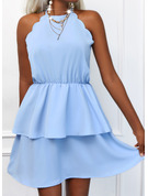 Einfarbig A-Linien-Kleid Ärmellos Mini Lässige Kleidung Skater Modekleider