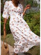 Kwiatowy Nadruk Sukienka Trapezowa Rękawy 1/2 Rękawy w kształcie skrzydeł nietoperza Maxi Nieformalny Wakacyjna Łyżwiaż Modne Suknie