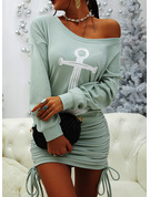 Print Åtsittande Långa ärmar Mini Fritids Tröjor Modeklänningar
