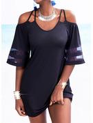 Solid Skede 1/2 ærmer Mini Den lille sorte Casual Mode kjoler