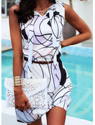 Print A-linjeklänning Ärmlös Midi Fritids Semester skater Modeklänningar