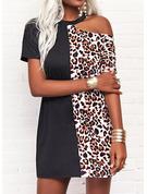 Leopardo Vestidos sueltos Manga Corta Mini Casual Túnica Vestidos de moda