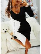 Blok Koloru Bodycon Długie rękawy Midi Impreza Modne Suknie