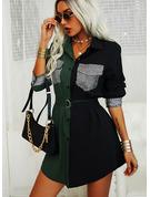 Farbblock Pailletten Etui Lange Ärmel Mini Lässige Kleidung Hemdkleider Modekleider