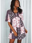 Blomster Patchwork Print Blondér Skiftekjoler 1/2 ærmer Flare-ærmer Mini Casual Tunika Mode kjoler