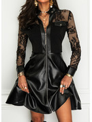 Spitze Einfarbig A-Linien-Kleid Lange Ärmel Mini Kleine Schwarze Elegant Skater Modekleider