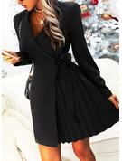 Solid Sheath Long Sleeves Mini Little Black Casual Elegant Wrap Dresses