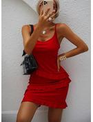 Jednolity Pokrowiec Bez Rękawów Mini Mała czarna Nieformalny Wakacyjna Rodzaj Modne Suknie