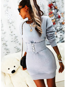 Solid Bodycon Long Sleeves Mini Casual Sweatshirt Dresses