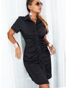 Sólido Cubierta Manga Corta Mini Pequeños Negros Casual Camisa Vestidos de moda