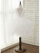 A-Line Knee-length Flower Girl Dress - Tulle/Lace Sleeveless Scoop Neck With Beading/V Back