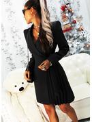 Einfarbig Etui Lange Ärmel Mini Kleine Schwarze Lässige Kleidung Elegant Bolero Modekleider