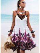 Nadruk Bez pleców Pokrowiec Bez Rękawów Mini Boho Wakacyjna Rodzaj Modne Suknie
