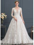 Robe Marquise/Princesse Col V Traîne mi-longue Tulle Robe de mariée
