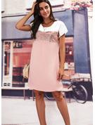 Trozos de color Impresión Vestidos sueltos Manga Corta Mini Casual Túnica Vestidos de moda