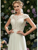 A-Line Illusion Floor-Length Wedding Dress With Lace Sequins