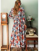 Květiny Tisk Do tvaru A Dlouhé rukávy Maxi Elegantní Skaterové Módní šaty