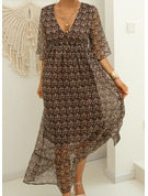 Print A-line 3/4 Sleeves Maxi Casual Skater Dresses