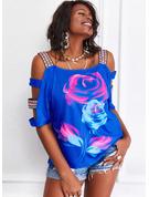 Blomster Print Kolde skulder 3/4 ærmer Casual Plus størrelse Skjorter
