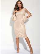 Sequins Bodycon Long Sleeves Midi Party Pencil Dresses