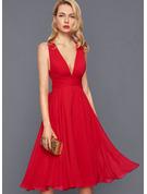 A-line Sleeveless Midi Back Details Dresses