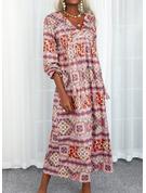 印刷 シフトドレス 長袖 マキシ 生きます カジュアル ファッションドレス