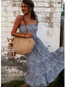 Floral Impresión Vestido línea A Sin mangas Midi Casual Vacaciones Patinador Vestidos de moda