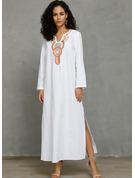 Print Shiftklänningar Långa ärmar Maxi Fritids Modeklänningar