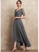 A-Line V-neck Asymmetrical Chiffon Lace Evening Dress