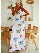 Print A-line Sleeveless Maxi Casual Type Dresses