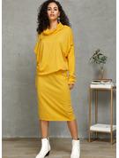 Solid Åtsittande Långa ärmar Midi Elegant Penna Modeklänningar