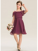 A-Line Off-the-Shoulder Knee-Length Chiffon Junior Bridesmaid Dress With Bow(s) Cascading Ruffles