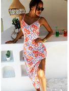 Kwiatowy Nadruk Suknie shift Bez Rękawów Maxi Nieformalny Wakacyjna Rodzaj Modne Suknie