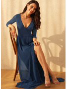 A-line 3/4 Sleeves Maxi Romantic Elegant Dresses