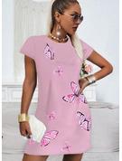 Animaliska Tryck Print Shiftklänningar Korta ärmar Mini Fritids t-shirt Modeklänningar