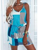 Trozos de color Tela escocesa Impresión raya Cubierta Sin mangas Mini Casual Tipo Vestidos de moda