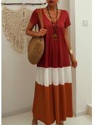 Color Block Shift Short Sleeves Maxi Casual T-shirt Dresses