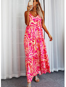 Nadruk Suknie shift Bez Rękawów Maxi Nieformalny Rodzaj Modne Suknie