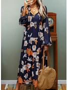 Print Shiftklänningar Långa ärmar Midi Fritids Modeklänningar