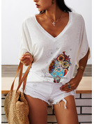 Animal Print V-Neck 3/4 Sleeves Casual T-shirt