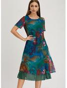 Print Kjole med A-linje Korte ærmer Midi Casual Elegant Tunika Mode kjoler