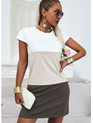 Color Block Shift Short Sleeves Mini Elegant Dresses