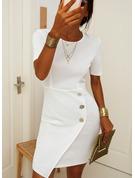 Solid Bodycon Korte ærmer Midi Casual Blyant Mode kjoler