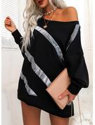 Paljetter Shiftklänningar Långa ärmar Mini Fritids Tunika Modeklänningar