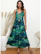 Květiny Tisk Do tvaru A Bezrukávů Maxi Neformální Typ Módní šaty