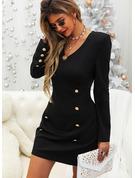 Couleur Unie Moulante Manches Longues Mini Petites Robes Noires Élégante Robes tendance